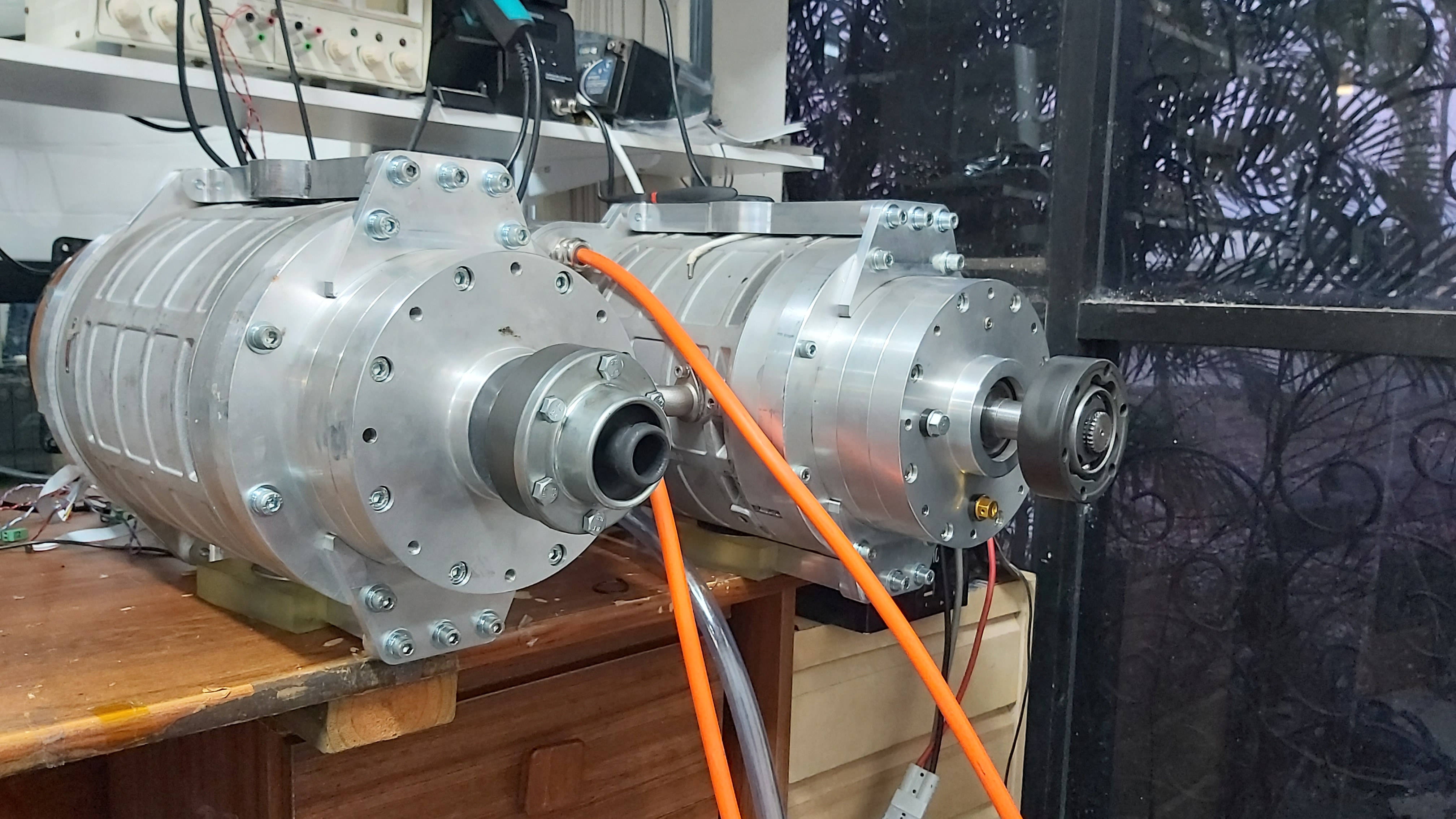 Two motors on the bench.